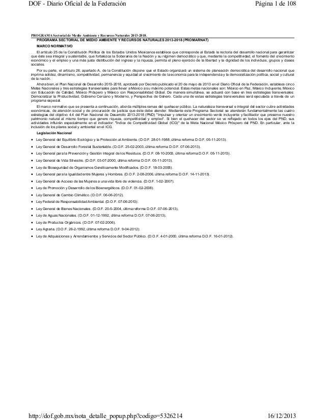 DOF - Diario Oficial de la Federación  Página 1 de 108  PROGRAMA Sectorial de Medio Ambiente y Recursos Naturales 2013-201...