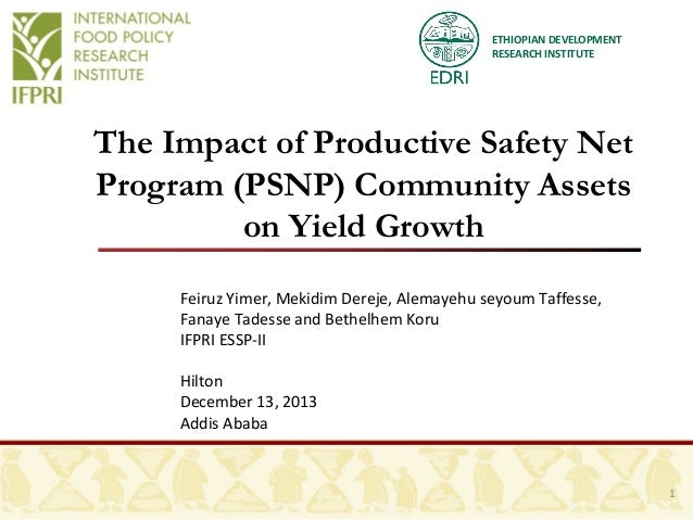 ETHIOPIAN DEVELOPMENT RESEARCH INSTITUTE  The Impact of Productive Safety Net Program (PSNP) Community Assets on Yield Gro...