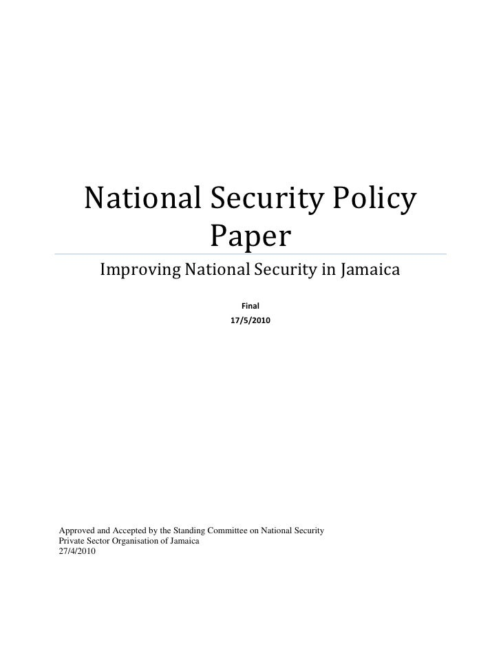 PSOJ National Security Policy Paper May 2010