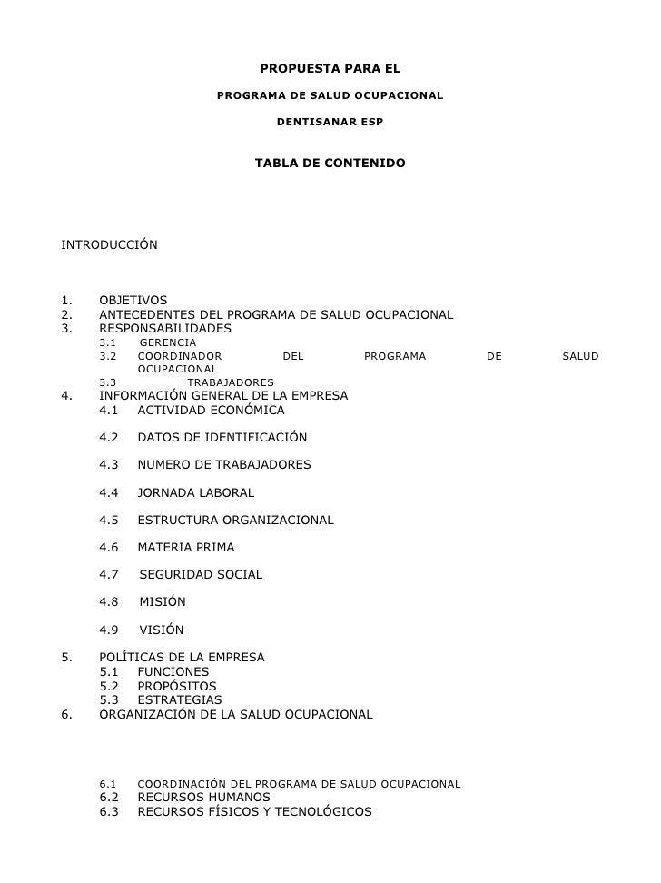 PROPUESTA PARA EL                      PROGRAMA DE SALUD OCUPACIONAL                               DENTISANAR ESP         ...