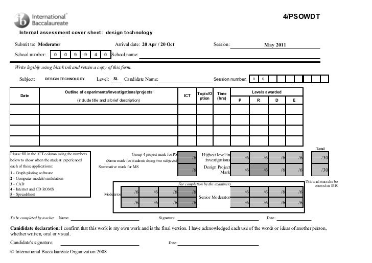 4/PSOWDT     Internal assessment cover sheet: design technology  Submit to: Moderator                                     ...