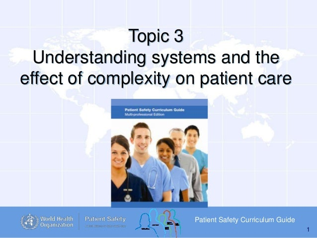 Topic 3 Understanding systems and the effect of complexity on patient care  Patient Safety Curriculum Guide 1