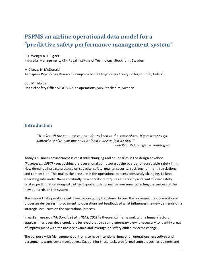 Pspms Predictive Safety Performance Mngt Sys