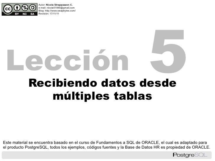 PostgreSQL - Lección 5 - Recibiendo datos desde múltiples tablas