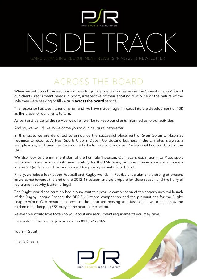 INSIDE TRACK          GAME-CHANGING RECRUITMENT NEWS SPRING 2013 NEWSLETTER                         ACROSS THE BOARDWhen w...