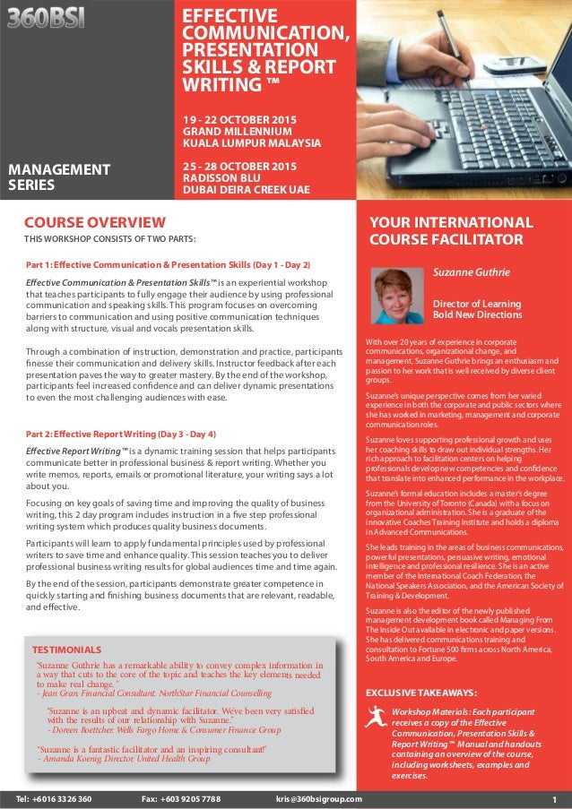 Report writing and presentation skills course outline