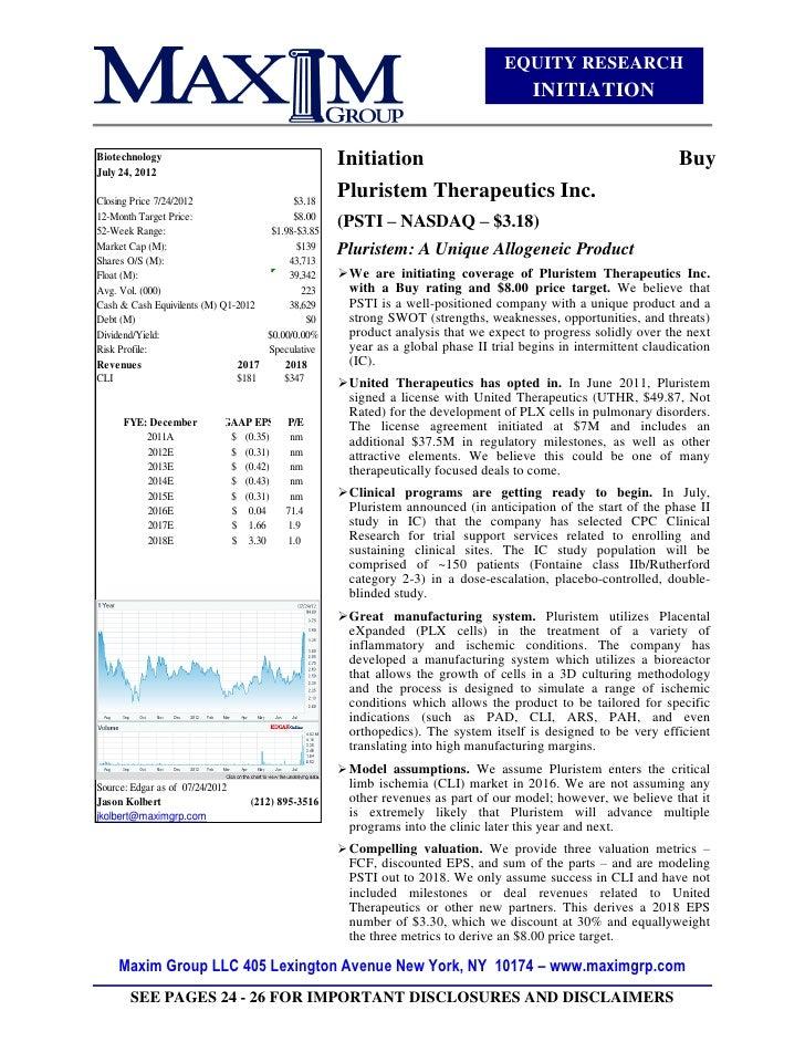 Pluristem Initiation BUY - $8 Target