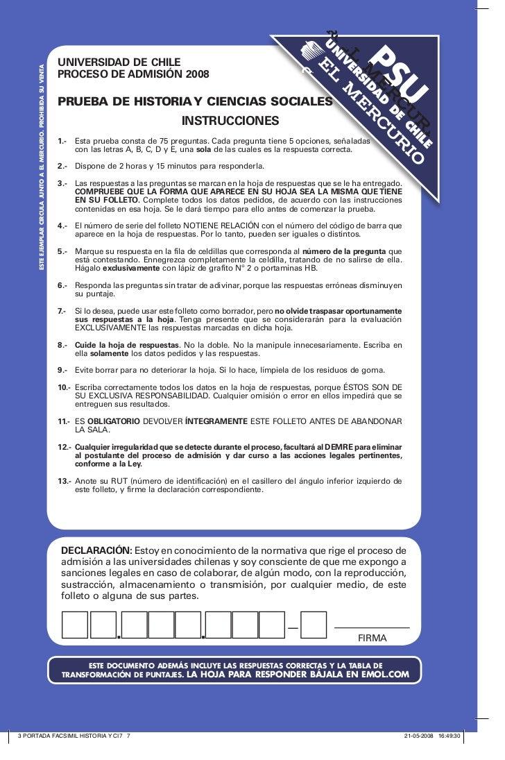 DEMRE: Historia PSU 2008