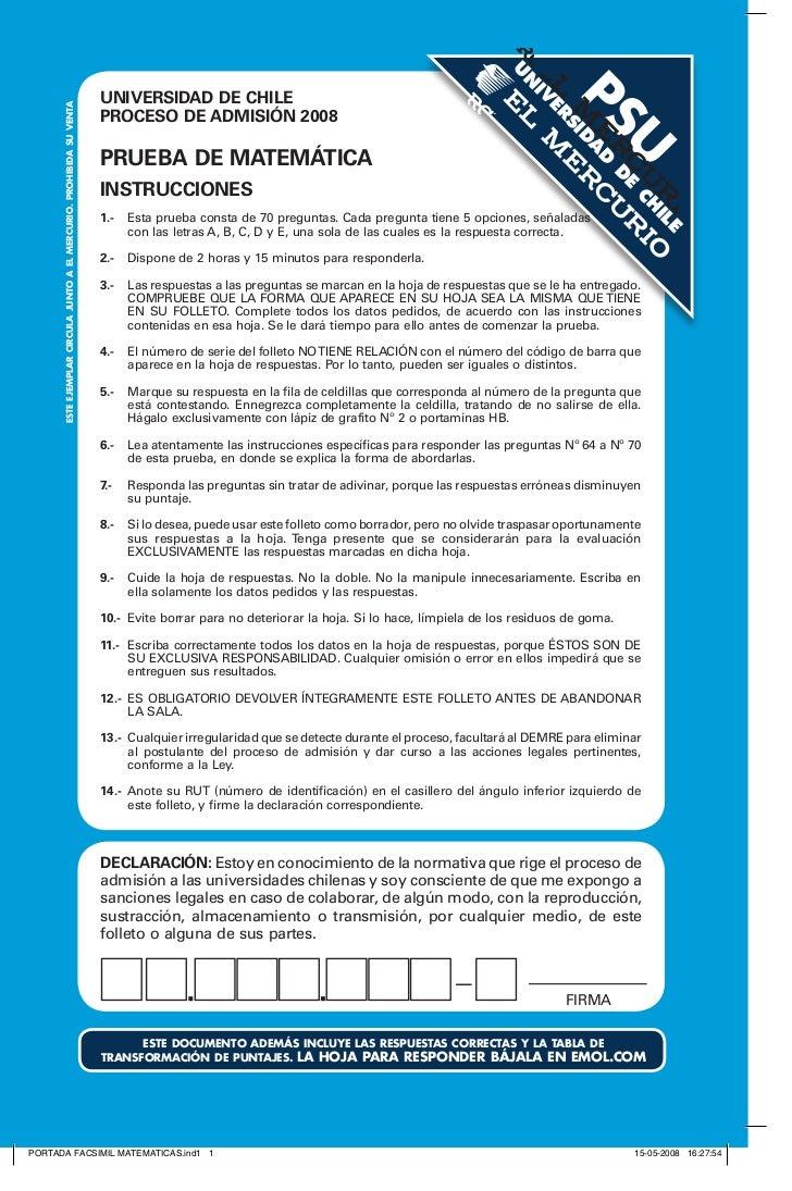 DEMRE: Matemáticas PSU 2008