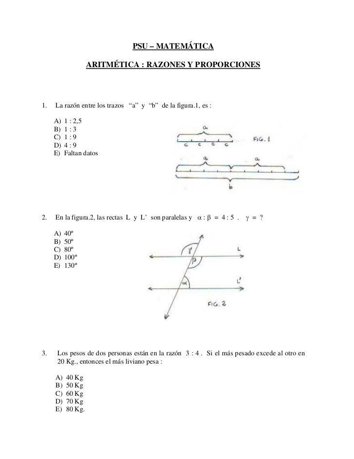 """PSU – MATEMÁTICA                   ARITMÉTICA : RAZONES Y PROPORCIONES1.   La razón entre los trazos """"a"""" y """"b"""" de la figur..."""