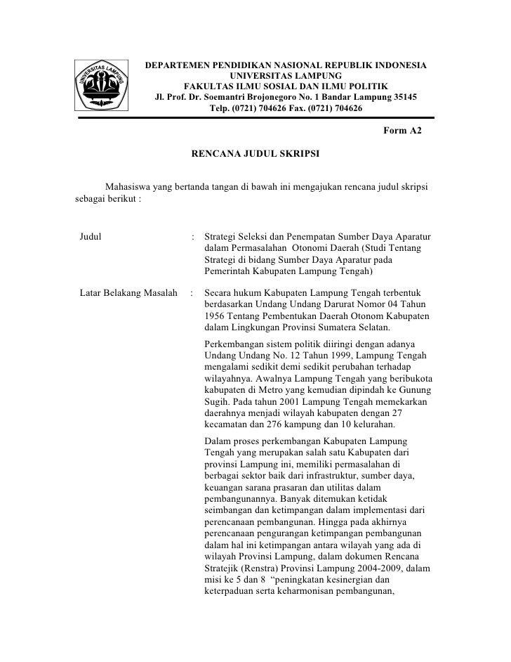 Contoh Makalah Skripsi Administrasi Negara