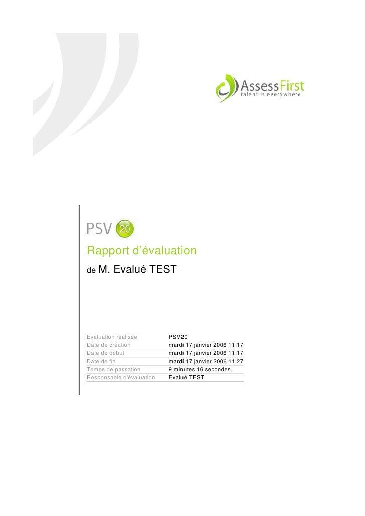 Rapport d'évaluation PSV20 (évaluation de la personnalité et des compétences)