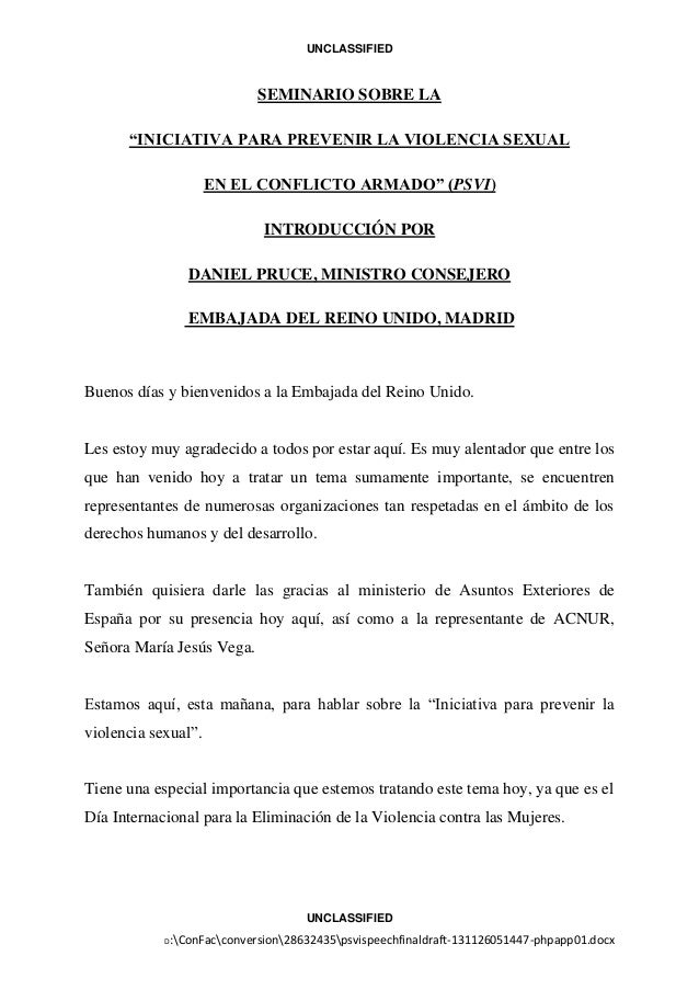 """UNCLASSIFIED  SEMINARIO SOBRE LA """"INICIATIVA PARA PREVENIR LA VIOLENCIA SEXUAL EN EL CONFLICTO ARMADO"""" (PSVI) INTRODUCCIÓN..."""