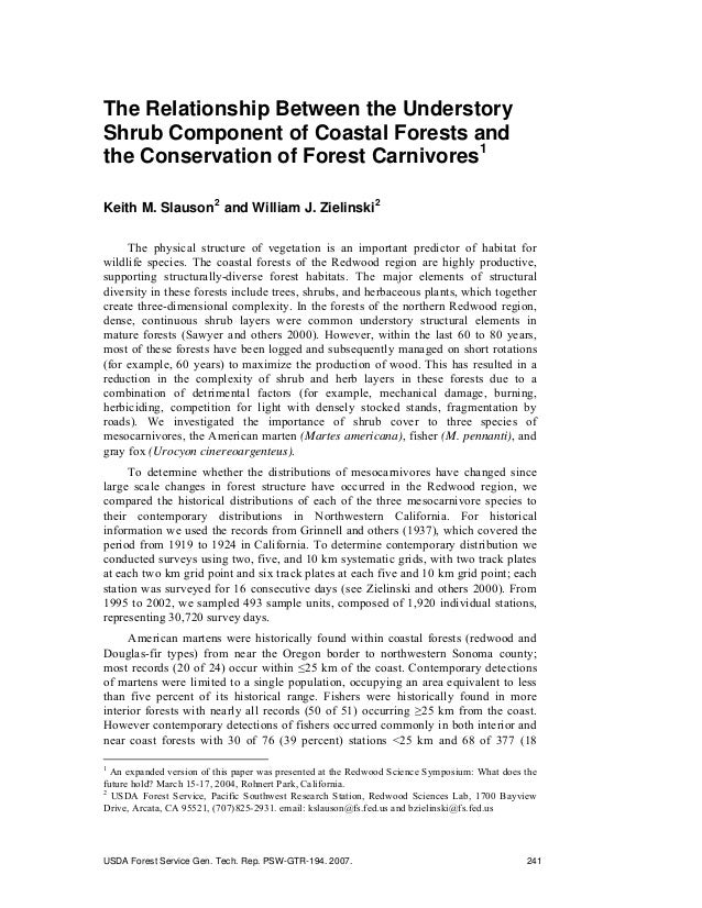 The Relationship Between the Understory Shrub Component of Coastal Forests and the Conservation of Forest Carnivores1 Keit...