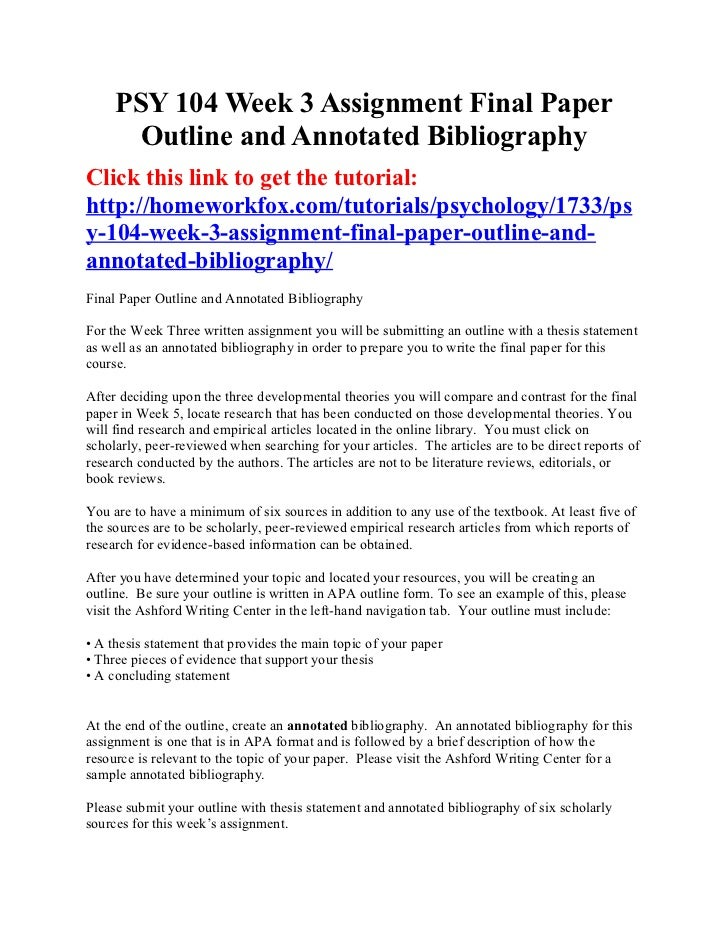 APA Style Guide: Annotated Bibliography