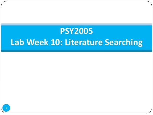 PSY2005    Lab Week 10: Literature Searching1