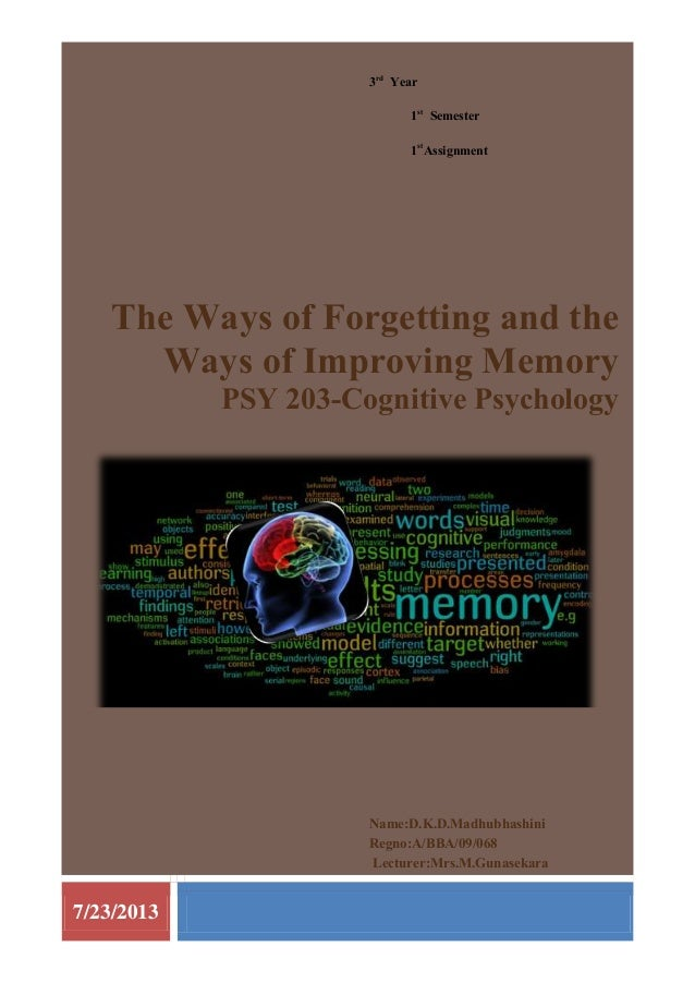7/23/2013 3rd Year 1st Semester 1st Assignment The Ways of Forgetting and the Ways of Improving Memory PSY 203-Cognitive P...