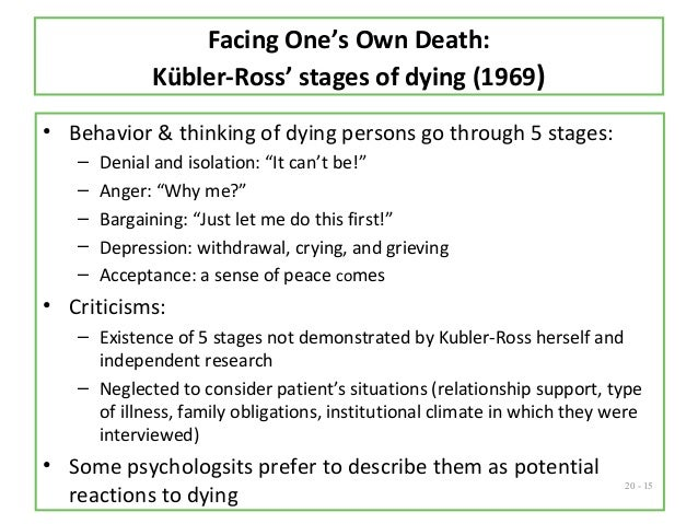 kubler ross stages of death and dying in the bucket list Necessarily pass through their own individual stages of dealing with the grief (based on the grief cycle model first published in on death & dying, elisabeth kübler.
