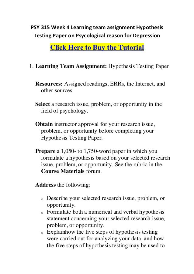 hypothesis testing paper 1 Hypothesis testing: using sample statistics to draw conclusions about the population can never be 100% sure about accuracy of our findings use probability to.