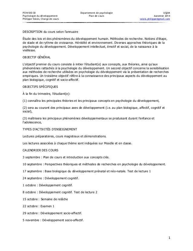 PSY4100-30 Département de psychologie UQÀM  Psychologie du développement Plan de cours Automne 2014  Philippe Valois, Char...
