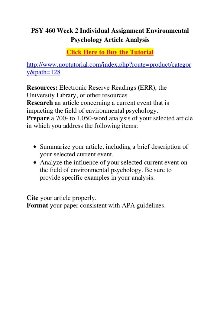 environmental psychology article analysis Behavior analysis is rooted in the principles of behaviorism his research demonstrated that an environmental stimulus publishing his landmark article psychology as the behaviorist view it in 1913 and establishing behaviorism as a major school of thought.