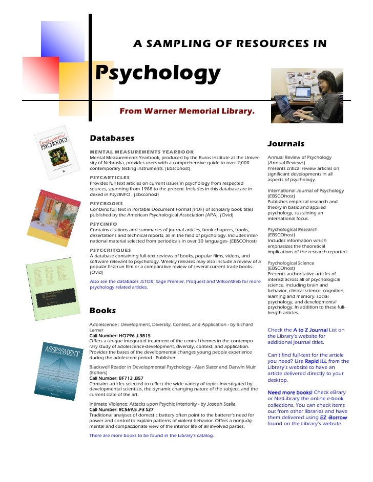 A SAMPLING OF RESOURCES IN    Psychology               From Warner Memorial Library.   Databases                          ...