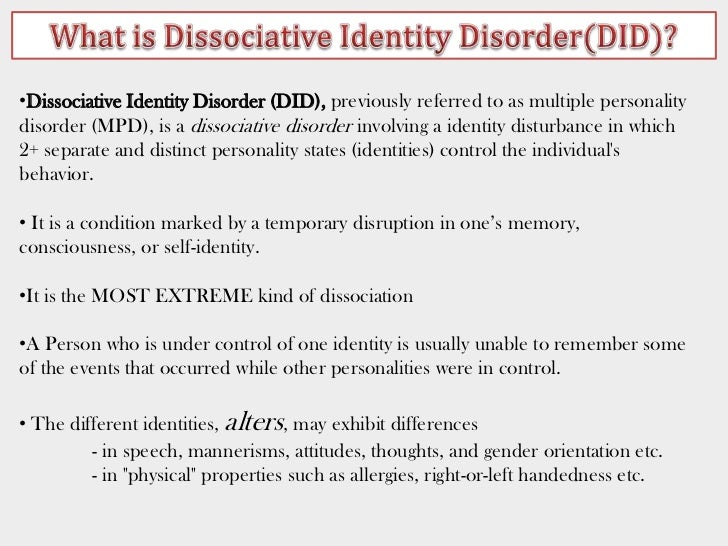 case study dissociative identity disorder Kim noble suffers from a rare condition called dissociative identity disorder mind in a case that's at the clinic for dissociative studies in.