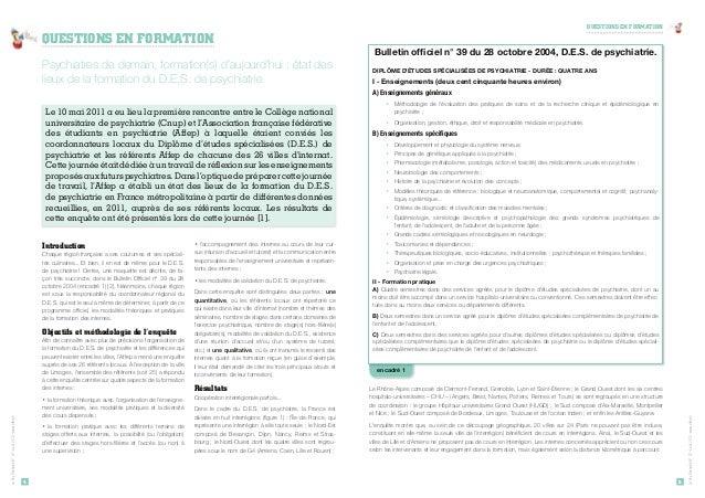 Psychiatres de demain, formation(s) d'aujourd'hui : état des  lieux de la formation du D.E.S. de psychiatrie  Le 10 mai 20...