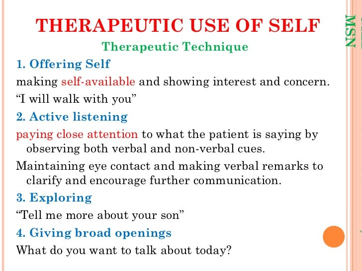 thesis about self awareness in psychiatric nursing Self-awareness in psychiatric nursing the most basic principle taught to nurses is that of the therapeutic nurse-client relationship without question, .