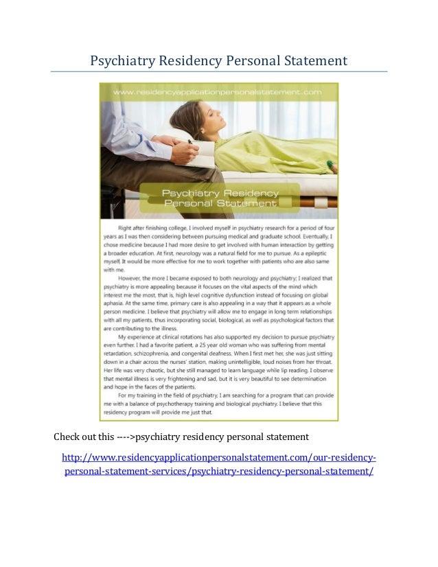 Personal statement psychiatry residency program