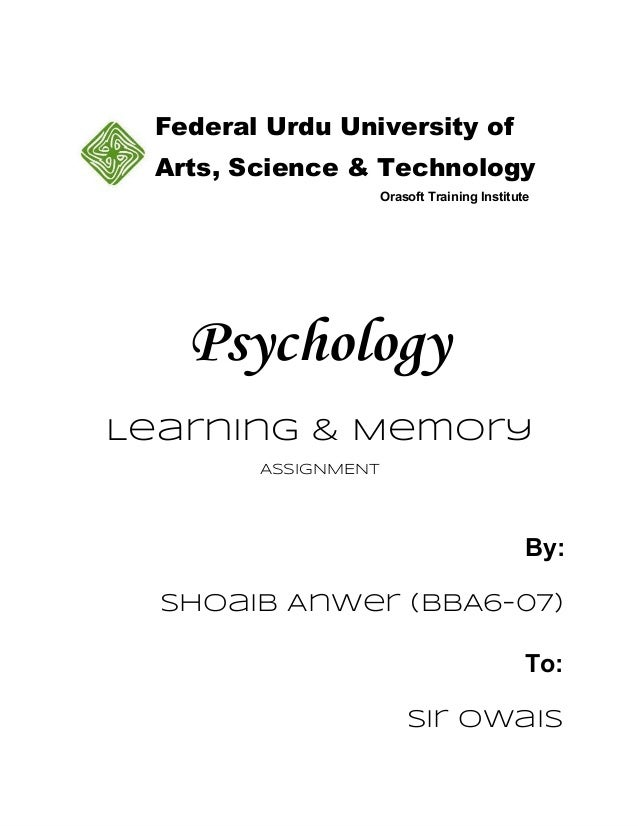 Psychology Assignment Learning & Memory