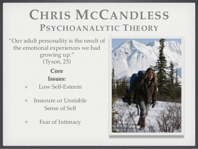 an analysis of the character of chris mccandless Into the wild begins not with the birth of its main character, or even with the beginning of the journey that the book will trace, but with an important turning point late in christopher.