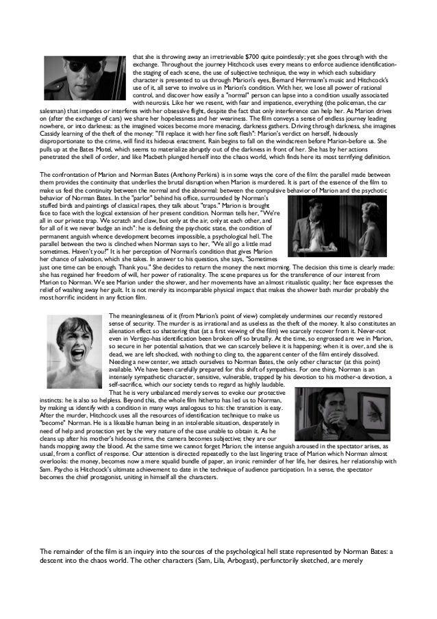 essays on the movie psycho