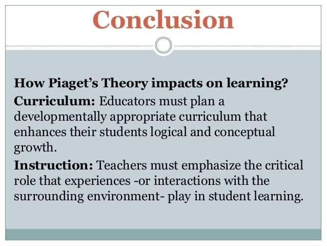 reaction paper on piagets learning theory essay Free essay on compare and contrast the theories of piaget and and contrast the theories of piaget and vygotsky learning theories this paper.