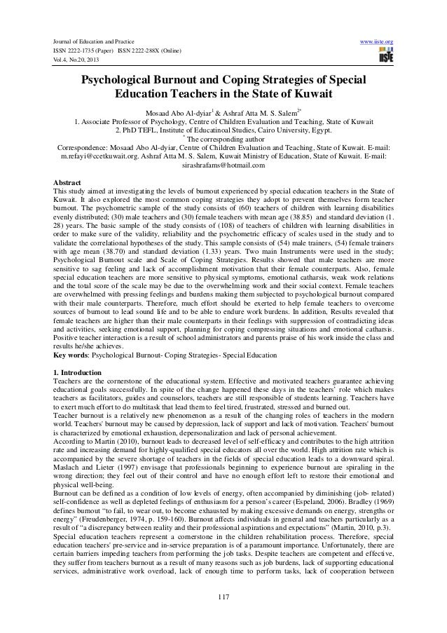 Journal of Education and Practice ISSN 2222-1735 (Paper) ISSN 2222-288X (Online) Vol.4, No.20, 2013  www.iiste.org  Psycho...