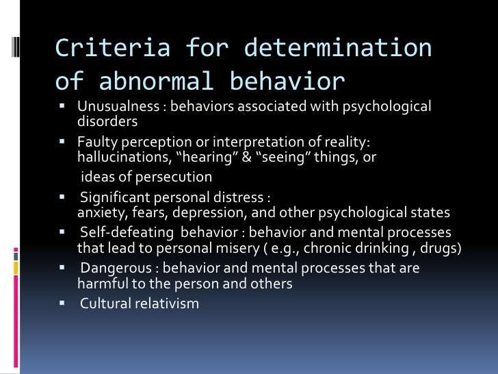 abnormal psychology psychological disorder N abnormal psychology (or psychopathology) deals with sets of behaviours or symptoms that produce a functional impairment in people's lives n psychological disorders (eg schizophrenia) have been documented across time and culture.