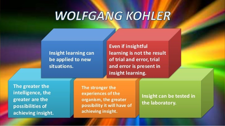 wolfgang kohler s experiment and insight learning The conclusions drawn from the experiments with apes were that these animals exhibit insight and that they wolfgang kohler wolfgang köhler.
