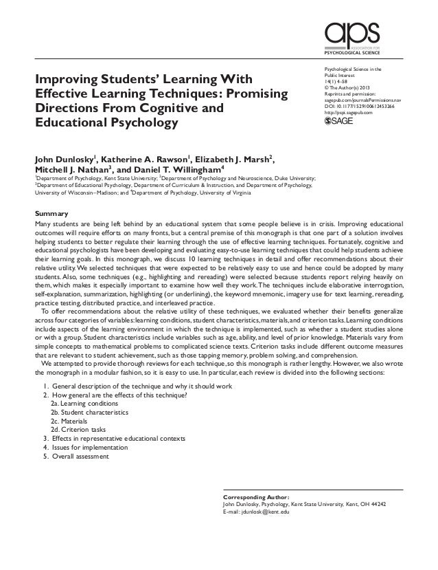 Psychological Science in theImproving Students' Learning With                                                             ...