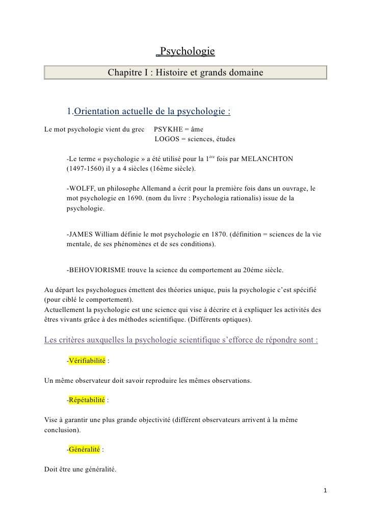 Psychologie                        Chapitre I : Histoire et grands domaine          1.Orientation actuelle de la psycholog...