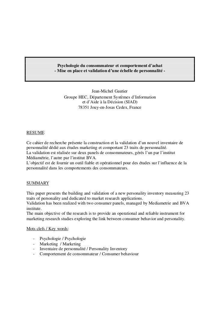 Psychologie du consommateur et comportement dachat                - Mise en place et validation d'une échelle de personnal...