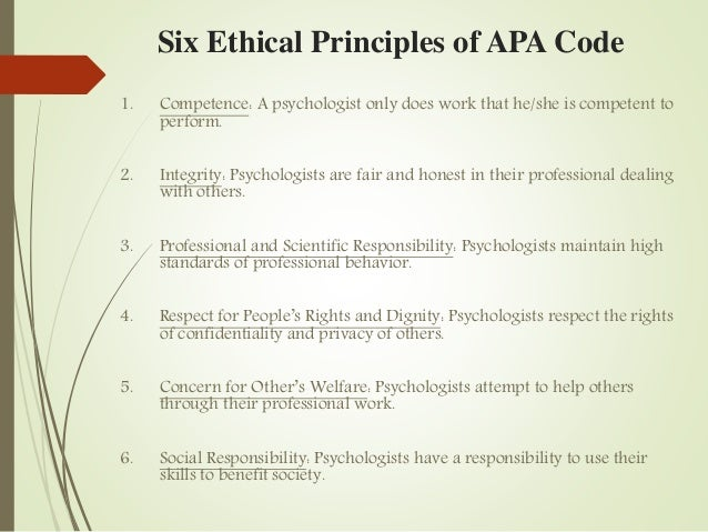 apa ethics code Ethical principles of psychologists  ethical standards of psychologists) was adopted by the american psychological association's council of representatives on january 24, 1981 the ethical pri nciples of psychologists (1981 revision) contains both  ethics and conduct, by responding to inquiries promptly and completely members also.