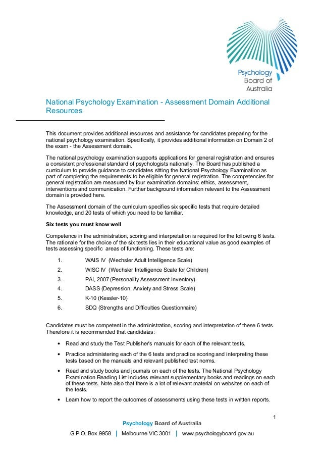 National Psychology Examination - Assessment Domain Additional Resources This document provides additional resources and a...