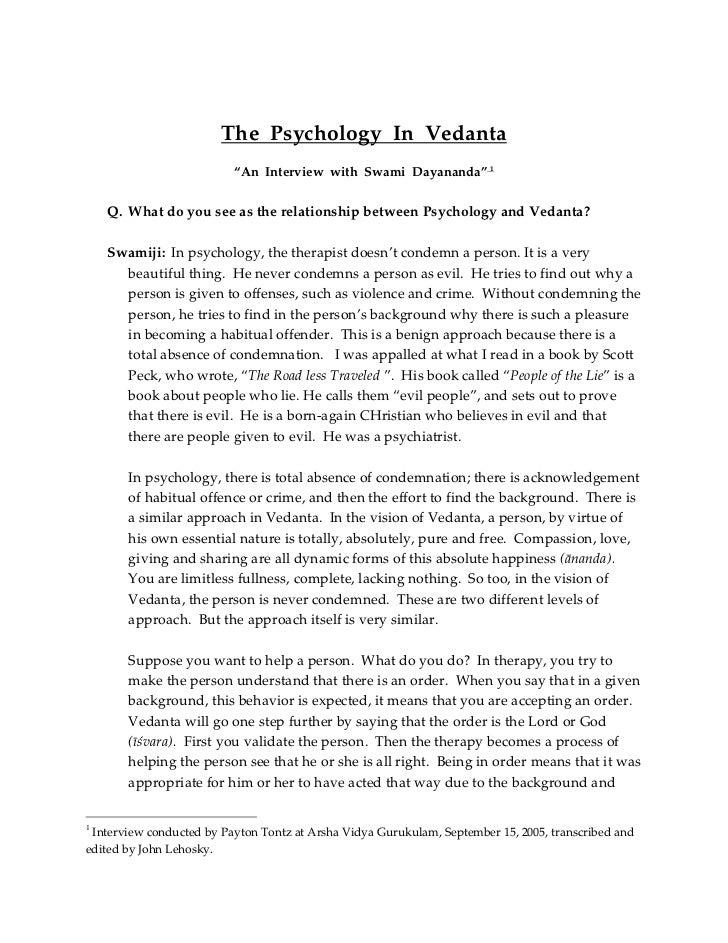 Psychology  in vedanta