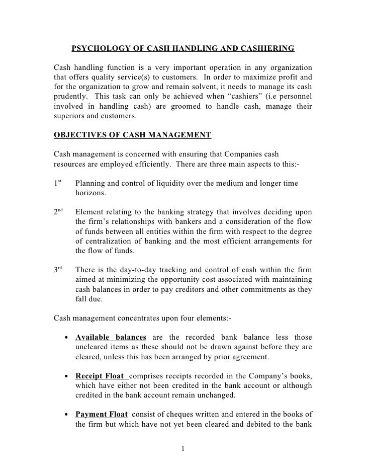 Psychology Of Cash Handling and cashering