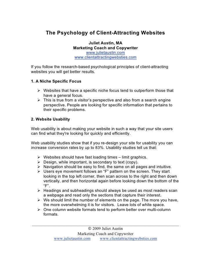 The Psychology of Client-Attracting Websites                               Juliet Austin, MA                        Market...