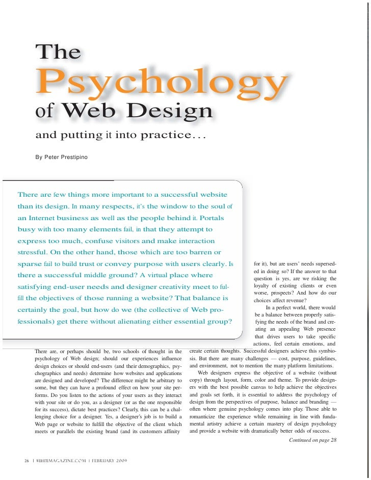The         Psychology         of Web Design         and putting it into practice…         By Peter Prestipino     There a...