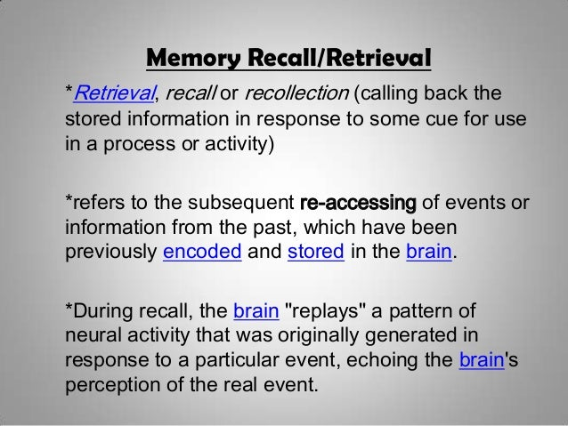 levels of processing on memory recall 1 j exp psychol learn mem cogn 2011 sep37(5):1258-63 doi: 101037/a0023923 the influence of levels of processing on recall from working memory and delayed recall tasks.