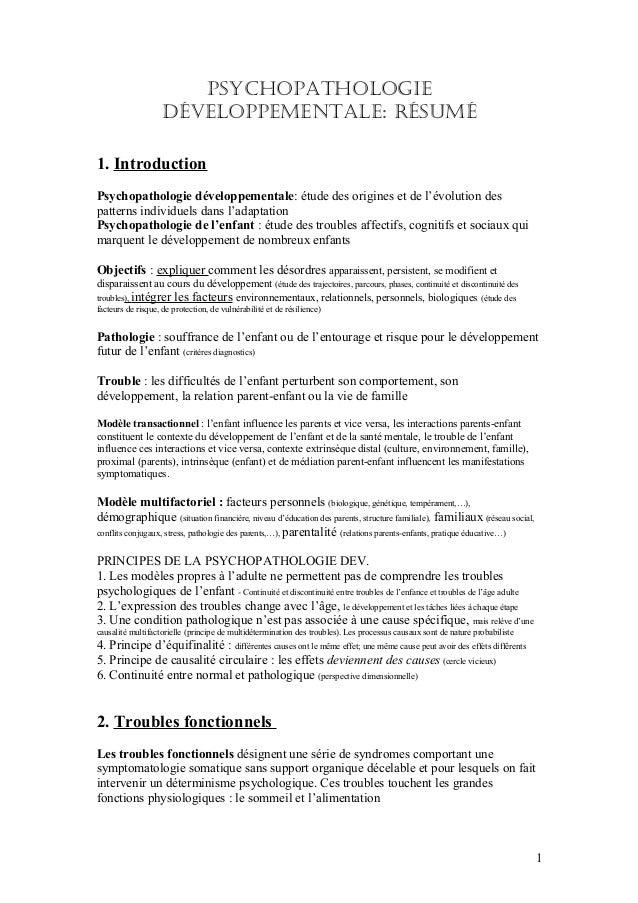 PsychoPathologie                    déveloPPementale: Résumé1. IntroductionPsychopathologie développementale: étude des or...