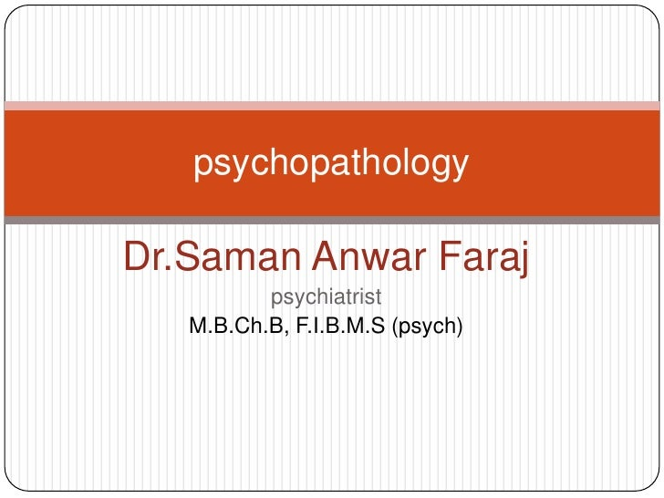 Psychiatry 5th year, 1st 2 lectures (Dr. Saman Anwar)