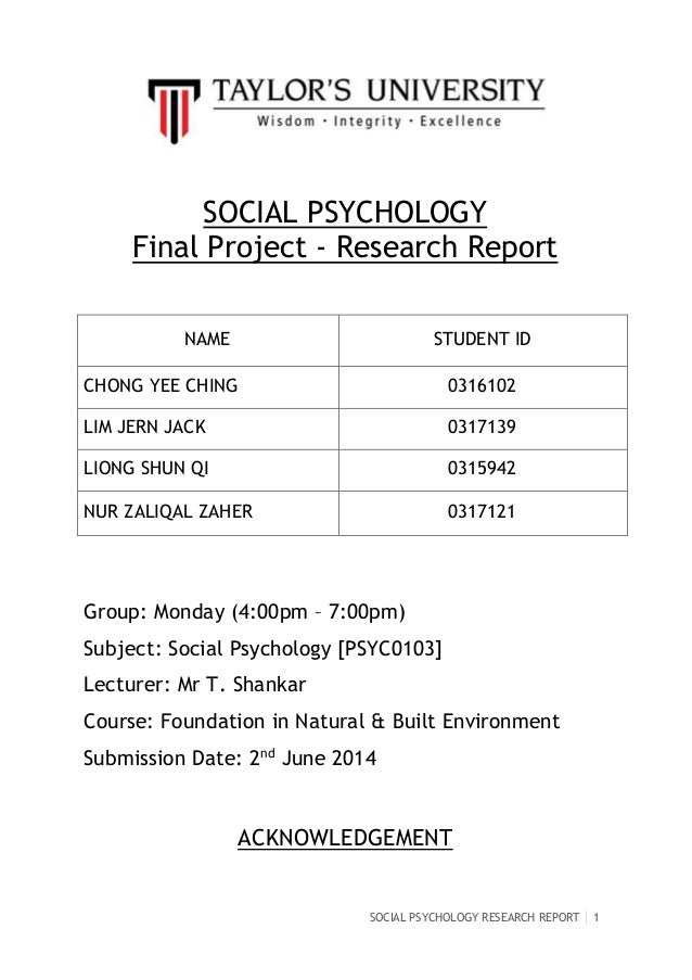 Content of research report